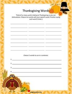 FREE Thanksgiving themed speech and language worksheets. Includes activities for articulation, multiple meaning words, idioms, and writing. Great for homework or to reinforce therapy targets!
