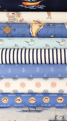 More of the Michael Miller fabric! Custom Crib Bedding - Sarah Jane Out to Sea - Ahoy There - Navy Blue and Red. $238.00, via Etsy.