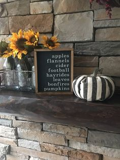 """fall mantle decor This """"Fall List Sign"""" custom order is hand painted and ready to hang. Painted with charcoal grey and vintage white lettering. Each piece of wood is hand selected a Fall Mantle Decor, Fall Home Decor, Autumn Home, Fall Apartment Decor, Modern Fall Decor, Mantel Ideas, Apartment Goals, Porch Ideas, Fall Signs"""