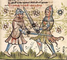 """'Rosengarten zu Worms' ; 'Lucidarius' — Straßburg - """"Werkstatt von 1418"""", 1420 Cod. Pal. germ. 359 Folio 43r"""