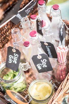 Gin mini bar on a sunny summer's day Oxfordshire wedding.