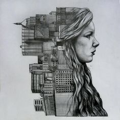 a pencil drawing i did for my gcse art exam (its pretty big irl), took me ten hours- I don't take any credit for the original concept, as it was very much inspired by this , a double exposure photograph by the amazing Dan Mountford. I did, however, use my own photographs (apart from some of the buildings, for which i used images i found on flickr of the manhattan skyline) the buildings got a bit smudged, which is really annoying me PLEASE, PLEASE, respect that this is my exam work, and ...