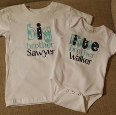 Big brother. Little brother. Matching shirts and onesie. Braylee's Sew Sweet Boutique.
