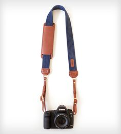Canvas & Leather Camera Strap – Navy | Avoid a camera catastrophe with the Navy leather camera strap.... | Camera Straps
