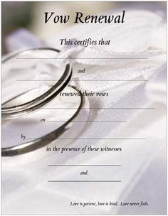 Vow Renewal Certificate with Silver Wedding Bands