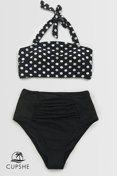 ac6ea7cc07c13 You'll love the classic look of black and white polka dots halter top  paired with the high-waisted bottom. Shop new high-waisted styles.