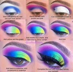 Crazy Eye Makeup, Rainbow Eye Makeup, Creative Eye Makeup, Eye Makeup Steps, Makeup Eye Looks, Colorful Eye Makeup, Eye Makeup Art, Eyeshadow Makeup, Face Paint Makeup