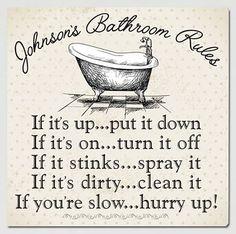 Personalized Bathroom Rules Canvas Bathroom Canvas Print