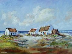 Buy COTTAGES NEAR THE BEACH: OIL ON STRETCHED CANVAS: 800mm x 600mm x 30mm )for R2,300.00 Watercolor Landscape, Landscape Paintings, Oil Paintings, Fishermans Cottage, South African Artists, Painting Videos, Beach Town, Canvas Art, Stretched Canvas