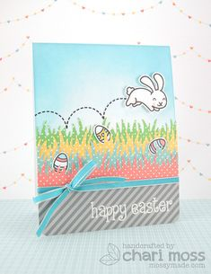 Lawn Fawn - Happy Easter, Grassy Border Lawn Cuts die, Let's Polka 6x6 paper _ Happy Easter card by Chari for Lawn Fawn Design Team