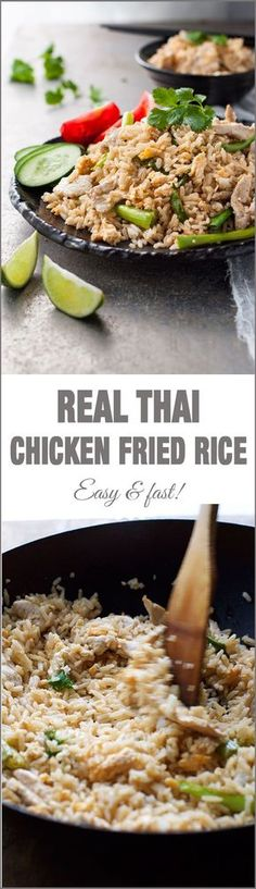 Rice Real Thai Chicken Fried Rice - just like you get in Thailand and from Thai restaurants!Real Thai Chicken Fried Rice - just like you get in Thailand and from Thai restaurants! Rice Recipes, Asian Recipes, Chicken Recipes, Dinner Recipes, Cooking Recipes, Healthy Recipes, Ethnic Recipes, Chicken Meals, Thai Chicken Fried Rice
