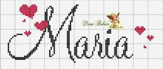 Gráfico de nomes Small Cross Stitch, Cross Stitch Letters, Cross Stitch Boards, C2c Crochet, Filet Crochet, Cross Stitching, Cross Stitch Embroidery, Sorority Letters, Plastic Canvas