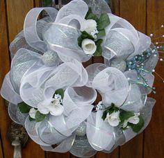deco mesh wedding centerpieces | GORGEOUS Church Door White Mesh Wedding Wreath by DottiesWeddings