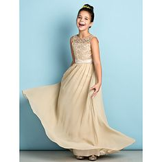 Lanting+Bride®+Floor-length+Chiffon+/+Lace+Junior+Bridesmaid+Dress+-+Mini+Me+A-line+Scoop+with+Lace+–+USD+$+79.99