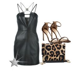 """""""Black leather dress"""" by fashionrushs ❤ liked on Polyvore featuring Stuart Weitzman, Lanvin and Versus"""