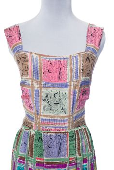 RARE Gilbert Adrian 2 piece silk dress and wrap top native novelty print This is a silk dress with two different shades of the same pattern and a separate top that matches the bodice of the dress.