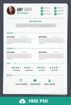 Free PSD: Print Ready Resume Template - Design Bump