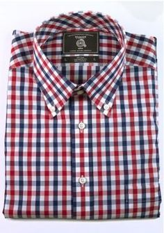 5774adbc3ce7 Maker   Company Button Down Shirt in Red and Navy Gingham Trendy Mens  Fashion