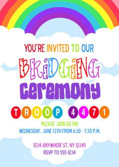 Girl Scouts - Brownies Bridging Ceremony Invite by Meghilys on Etsy https://www.etsy.com/listing/99835517/girl-scouts-brownies-bridging-ceremony