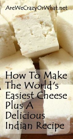 To Make The World's Easiest Cheese Plus A Delicious Indian Recipe The easiest homemade cheese recipe, plus saag paneer.The easiest homemade cheese recipe, plus saag paneer. Easy Cheese, How To Make Cheese, Food To Make, Making Cheese, Fromage Vegan, Fromage Cheese, Cocina Light, Comida India, Cuisines Diy