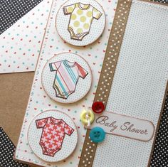 Baby Shower Card with Matching Embellished Envelope - Onesies