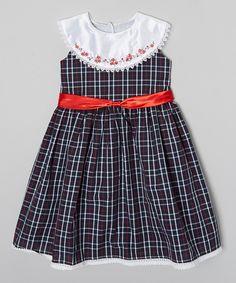 8fa4c290875 Loving this Hartland Sisters Navy Plaid Yoke Dress - Infant