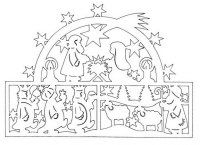 nativity - would love to cut this out in black and make a window sun catcher out of it, or cut out the individual characters, mount on sticks and make them into shadow puppets Christmas Paper Crafts, Christmas Nativity, Christmas Signs, Christmas Crafts, Christmas Stencils, Paper Cutting Patterns, Christmas Activities For Kids, Pop Up Cards, Kirigami