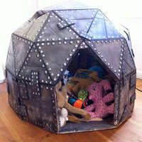 playhouse dome made of cardboard. fun to make. kids love it. this size will just fit through a door for indoor play.