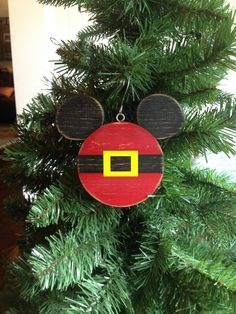 Mickey Mouse Santa wood ornament