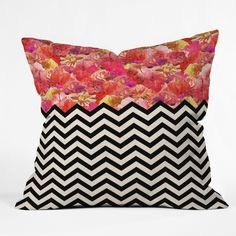Bianca Green Chevron Flora 1 Outdoor Throw Pillow | DENY Designs Home Accessories