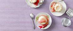 Flan de semoule au yogourt avec rhubarbe Flan, Panna Cotta, Cooking, Ethnic Recipes, Rhubarb Compote, Recipe, Pudding, Kitchen, Creme Brulee