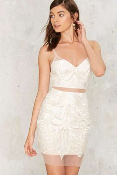 Factory Power Tulle Lace Dress - White