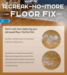 Turn down the volume of irritating wood floor creaking with cornstarch. #SaveMoney #DIYHome #HouseholdTips #HomemadeImprovement #CornstarchFloorFix #CreakyWood