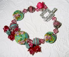 Athena's Garden Lampwork and Dangle Bracelet with by judesjujus, $90.00