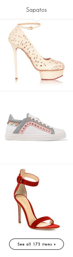 """""""Sapatos"""" by elaizajenefer-1 on Polyvore featuring shoes, sneakers, white, gucci sneakers, low profile sneakers, lace up shoes, white lace up shoes, gucci trainers, pumps e heels"""