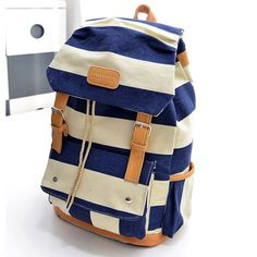 """Color:+black+/+blue    Material:+canvas    Size:+39CM(15.35"""")+*+30CM(11.81"""")++*+17CM(6.69"""")++    Weight:+0.205KG++++    Style:+preppy    Shape:+vertical+and+square    Closed+mode:+pumping+with+hasp    Pattern:+stripe    Fashion+elements:+decorative+belt    Hardness:+soft    Internal+Structure..."""