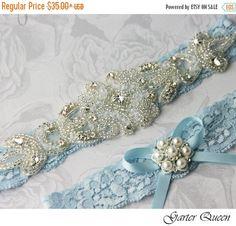 20 OFF Blue Wedding Garter Set Lace Por GarterQueen