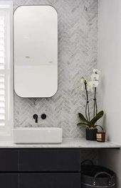 The hits and misses of ensuite reveals from The Block Rectangular mirrored shaving cabinets w The Block, Bathroom Styling, Bathroom Interior Design, Interior Livingroom, Home Design, Bath Design, Simple Bathroom, Bathroom Black, Bathroom Ideas