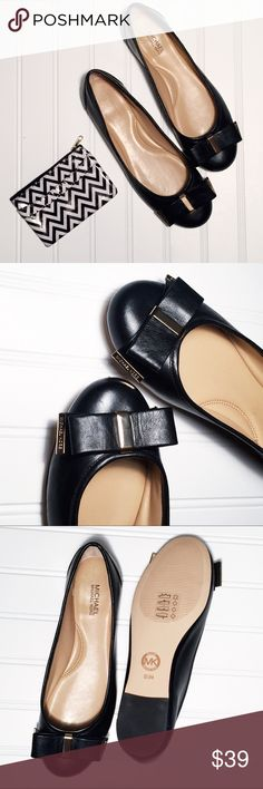 Michael Kors Leather Bow Flats 61/2 Adorable patent leather flats by MK with cute bow detail. Michael Kors Shoes Flats & Loafers