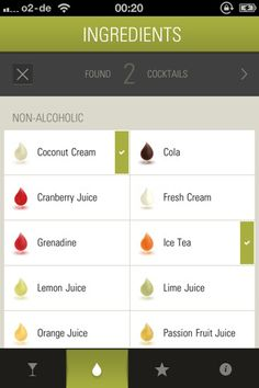 lovely ui (check marks on The Cocktail App)