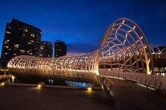 Photo about Webb Bridge at Docklands in Melbourne, Australia, at night. Image of metal, victoria, australia - 21905246 Melbourne Victoria, Victoria Australia, 7 Places, Places To Visit, Exotic Places, Melbourne Australia, Australia Travel, Famous Bridges, Urban Design