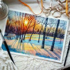 Water colour winter scene