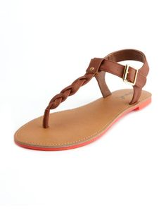 Neon-Outsole Braided Sandal