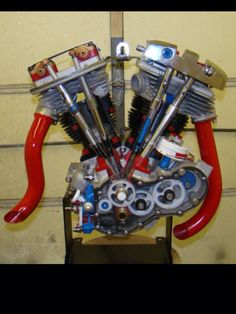 Harley Davidson Shovelhead motor cut away Harley Davidson Engines, Motos Harley Davidson, Hd Motorcycles, Vintage Motorcycles, Motorcycle Engine, Motorcycle Mechanic, Bobber Motorcycle, Custom Harleys, Custom Bobber