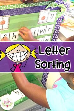 Letter Sorting Activities for Kindergarten. Included in a set with lots of ideas and activities for Literacy Centers. Abc Phonics, Teaching Phonics, Kindergarten Activities, Classroom Activities, Classroom Ideas, Kindergarten Reading, Sorting Activities, Kids Learning Activities, Fun Learning