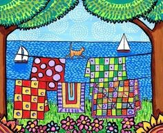 Quilt colourful Cat orange tabby,ocean, print Nova Scotia -Duffett