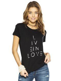 Live In Love Black Elvis Crew Neck Tee