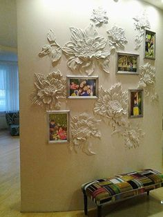 The picture frames could be changed to a similar material for better flow. Plaster Crafts, Plaster Art, Plaster Walls, Mural Art, Wall Murals, Style Deco, Wall Sculptures, Textured Walls, Wall Design