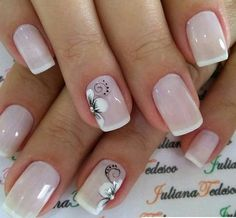 Lovely Simple Bright Nail Design 2019 - Page 12 of 21 - Dazhimen French Manicure Nails, French Tip Nails, Manicure And Pedicure, Bright Nail Designs, Simple Nail Designs, Nail Art Designs, Nagellack Design, Bride Nails, Flower Nails
