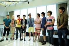 SJ at W Seoul Walkerhill (Donghae off to the side, looking American w/his style. The only one in the group)